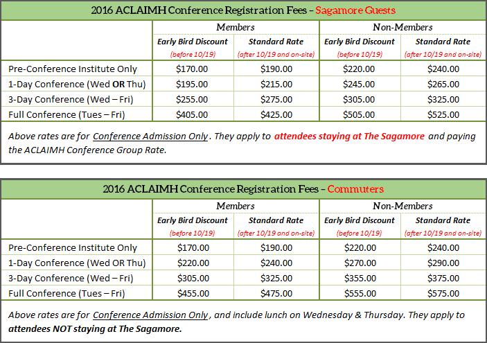2016 Conference Registration Fees